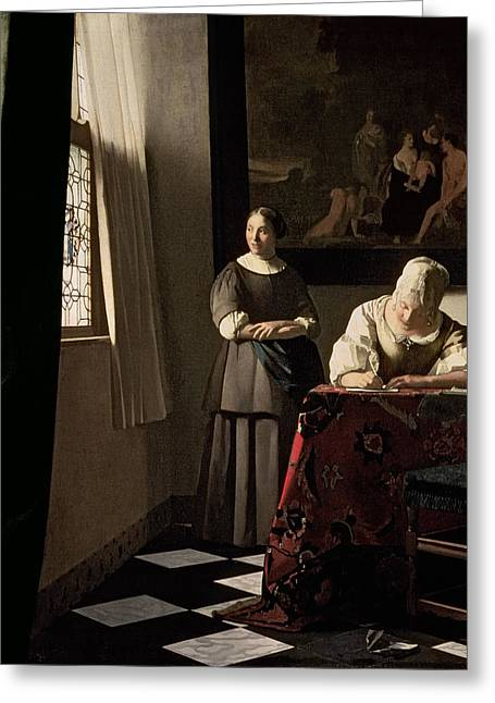 Dgt Greeting Cards - Lady writing a letter with her Maid Greeting Card by Jan Vermeer