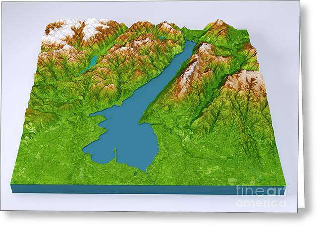 Lago Di Garda 3d Model Topographic Map Color Frontal Greeting Card by Frank Ramspott