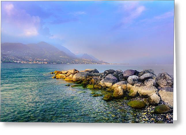 Hill Top Village Greeting Cards - Lago di Garda. Stones Greeting Card by Dmytro Korol