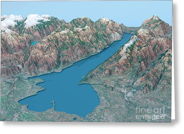 Lago Di Garda Topographic Map 3d Landscape View Natural Color Greeting Card by Frank Ramspott