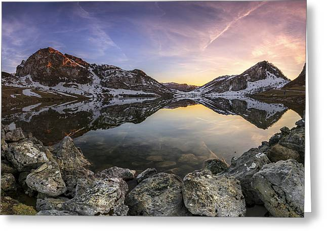 Lago Enol Greeting Card by Glendor Diaz Suarez