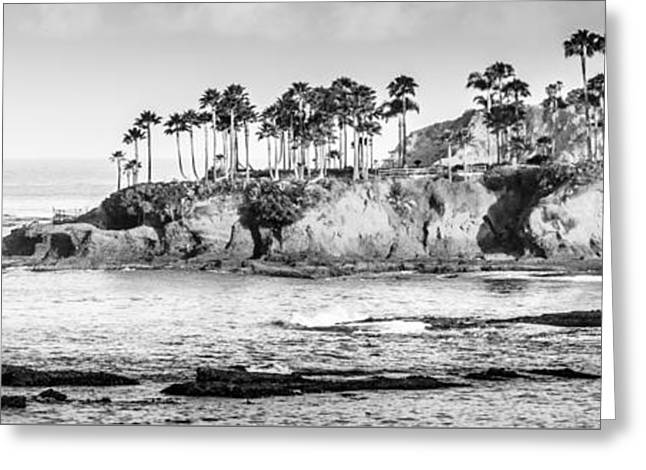 Ocean Panorama Greeting Cards - Laguna Beach Black and White Panoramic Picture Greeting Card by Paul Velgos