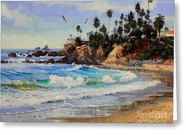 Flying Seagull Paintings Greeting Cards - Laguna Beach  Greeting Card by Gary Kim