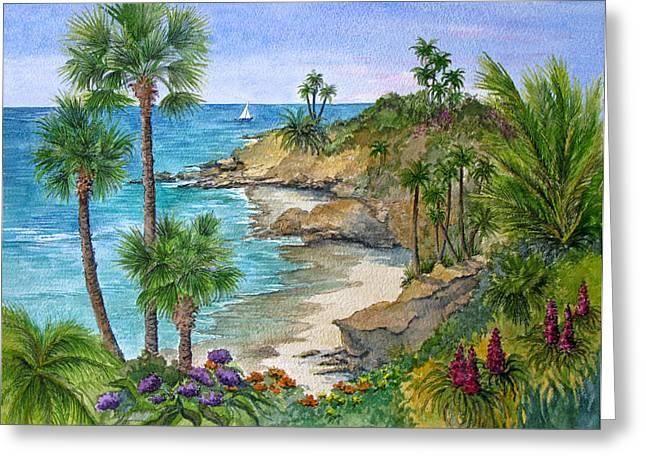 Laguna Beach Vista Greeting Card by Bonnie Sue Schwartz