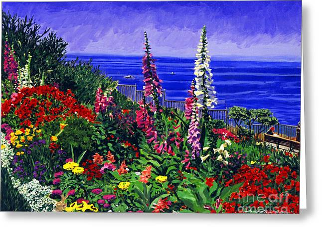 Hollyhocks Greeting Cards - Laguna Niguel Garden Greeting Card by David Lloyd Glover