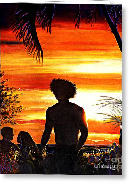 Surf Silhouette Pastels Greeting Cards - Lahaina At Dusk Greeting Card by Nanybel Salazar
