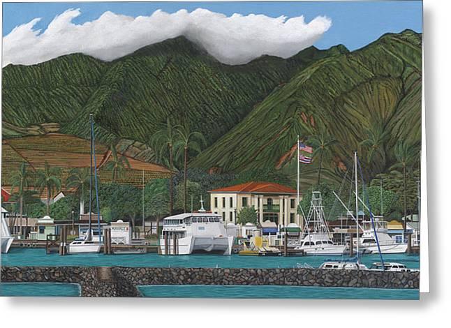Lahaina Greeting Cards - Lahaina Harbor, Maui, 2 of 2 panorama Greeting Card by Robert Bradshaw