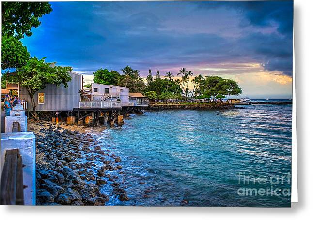 Lahaina Greeting Cards - Lahaina Maui Waterfront Greeting Card by Ken Andersen