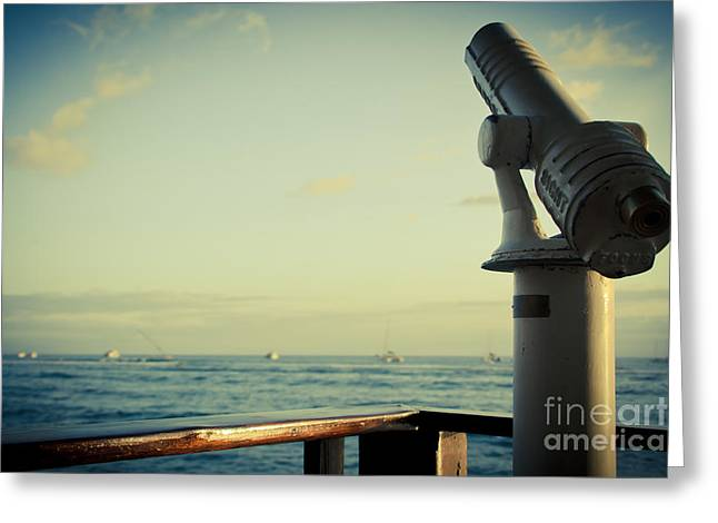 Lahaina Photographs Greeting Cards - Lahaina Telescope Seascape Scenic Viewer Parapet Greeting Card by Sharon Mau