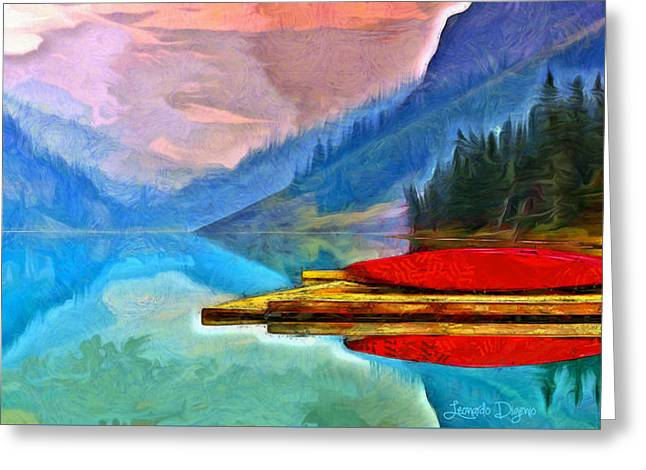 Lake And Mountains - Da Greeting Card by Leonardo Digenio