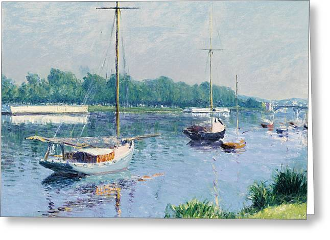 Gustave Paintings Greeting Cards - Lake Argenteuil Greeting Card by Gustave Caillebotte