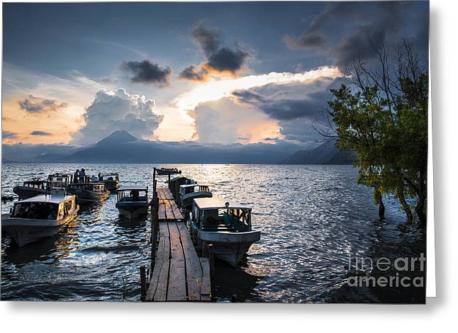 Peaceful Scene Greeting Cards - Lake Atitlan at sunset Greeting Card by Yuri Santin