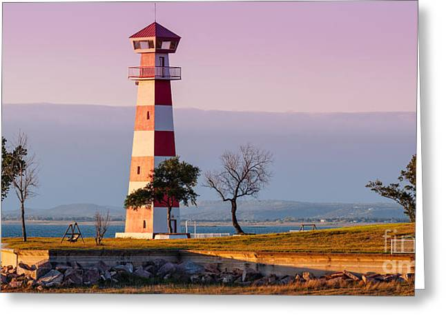 Oak Creek Greeting Cards - Lake Buchanan Lighthouse in Golden Hour Sunset Light - Texas Hill Country Greeting Card by Silvio Ligutti