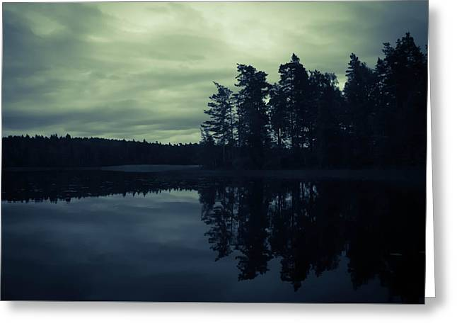 Sweden Greeting Cards - Lake by Night Greeting Card by Nicklas Gustafsson