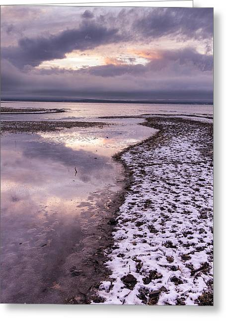 New England Snow Scene Greeting Cards - Lake Champlain-Winter-Sunset-Stormy clouds Greeting Card by Andy Gimino