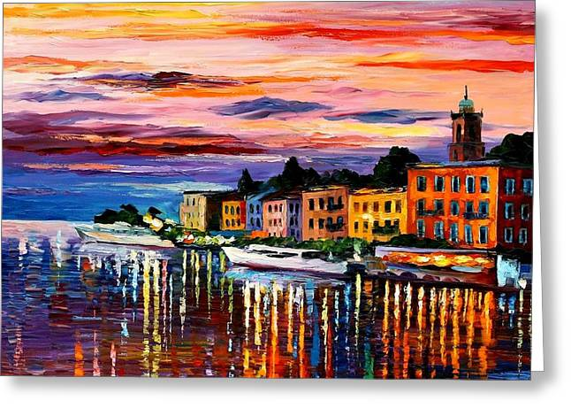 Original Art Greeting Cards - Lake Como - Bellagio  Greeting Card by Leonid Afremov