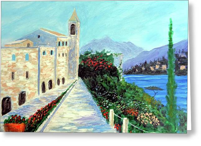Lake Como Colors  Greeting Card by Larry Cirigliano