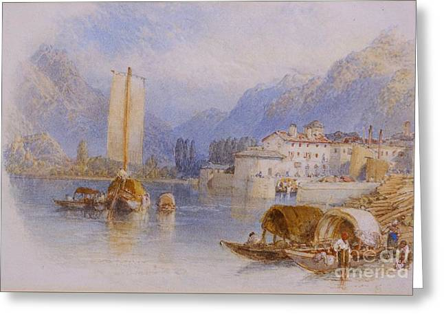 Lake Como Paintings Greeting Cards - Lake Como Greeting Card by Celestial Images