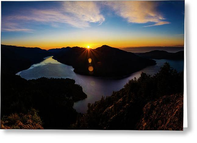 Lake Crescent Sunset 2 Greeting Card by Pelo Blanco Photo
