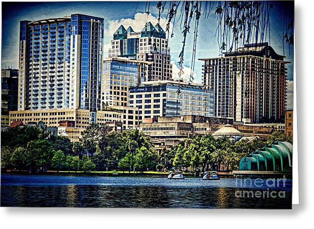 Willow Lake Greeting Cards - Lake Eola Park Greeting Card by Pamela Blizzard
