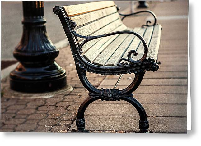 Park Benches Greeting Cards - Lake Erie Bench at Sunset Greeting Card by Lisa Russo