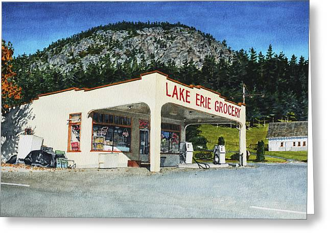 Grocery Store Greeting Cards - Lake Erie Grocery Greeting Card by Perry Woodfin