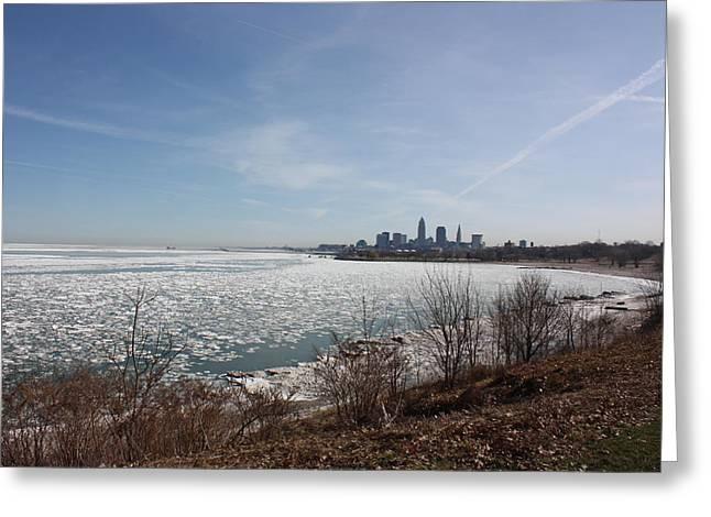 Mb Matthews Greeting Cards - Lake Erie Ice Greeting Card by MB Matthews