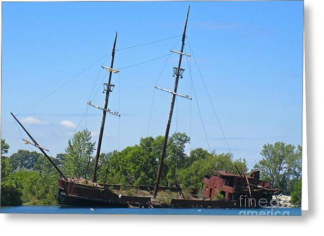 Masts Mixed Media Greeting Cards - Lake Erie Shipwreck  Greeting Card by John Malone