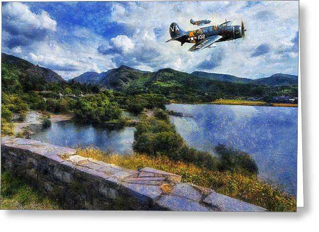 Vintage Greeting Cards - Lake Flight  Greeting Card by Ian Mitchell