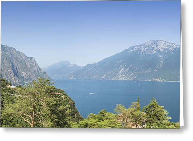 Nature Greeting Cards - LAKE GARDA Gorgeous Panoramic View Greeting Card by Melanie Viola