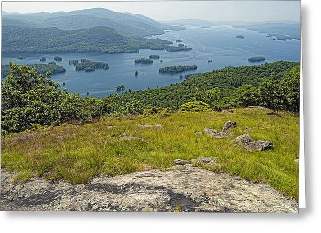 """adirondack Park"" Greeting Cards - Lake George from the Tongue Mountain Range New York  Greeting Card by Brendan Reals"