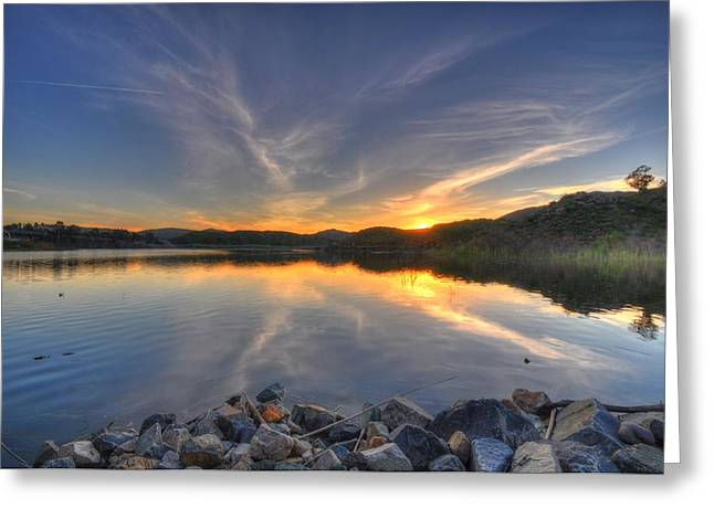 Lake Hodges Sunset Greeting Card by Kelly Wade