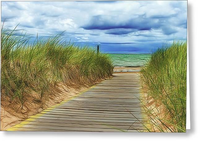 Lake Huron Boardwalk Greeting Card by Bill Gallagher