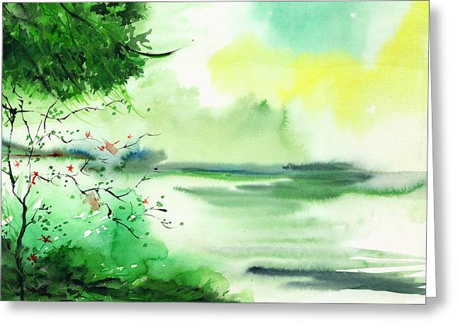 Anil Nene Greeting Cards - Lake in clouds Greeting Card by Anil Nene