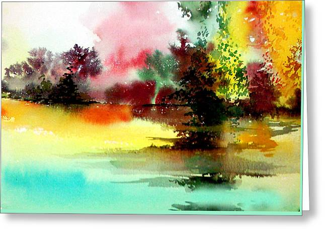 Amazing Sunset Mixed Media Greeting Cards - Lake in colours Greeting Card by Anil Nene