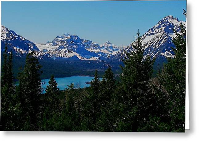 Snow Scene Landscape Greeting Cards - Lake in the Mountains Greeting Card by Tracey Vivar