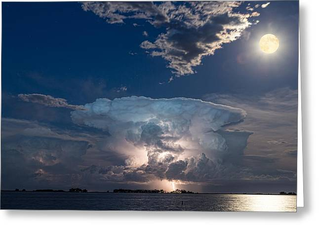 Flash Greeting Cards - Lake Lightning Striking Thunderstorm Cell and Full Moon Greeting Card by James BO  Insogna
