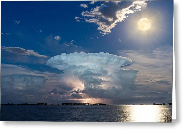 Morgan County Greeting Cards - Lake Lightning Thunderstorm Striking and Full Moon   Greeting Card by James BO  Insogna