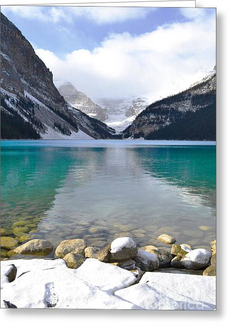 Snow Capped Greeting Cards - Lake Louise Beauty Greeting Card by Andrea Hazel Ihlefeld