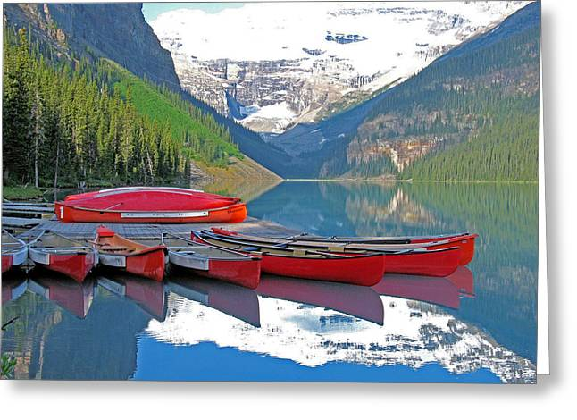 Canoe Greeting Cards - Lake Louise Canoes Greeting Card by Gerry Bates