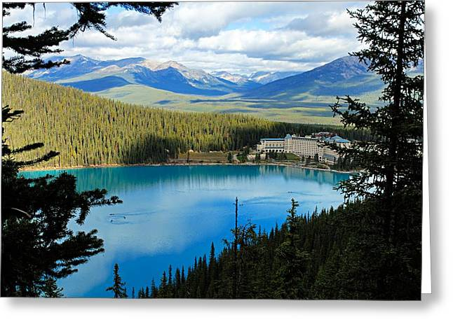 Lake Louise Photography Greeting Cards - Lake Louise Chalet Greeting Card by Larry Ricker