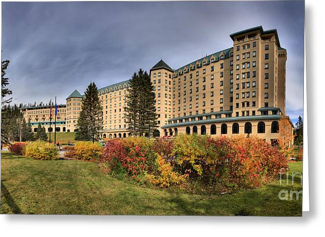 Chateau Greeting Cards - Lake Louise Changing Of The Seasons Greeting Card by Adam Jewell