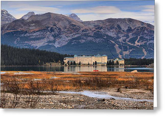 Chateau Greeting Cards - Lake Louise Chateau Panorama Greeting Card by Adam Jewell