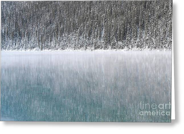 Snow Tree Prints Greeting Cards - Lake Louise Forest Landscape Greeting Card by Andrea Hazel Ihlefeld