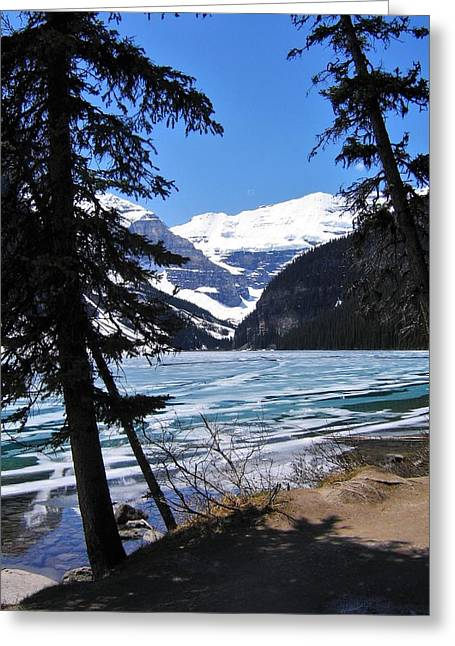 Snow Scene Landscape Greeting Cards - Lake Louise Greeting Card by Kathleen Graham