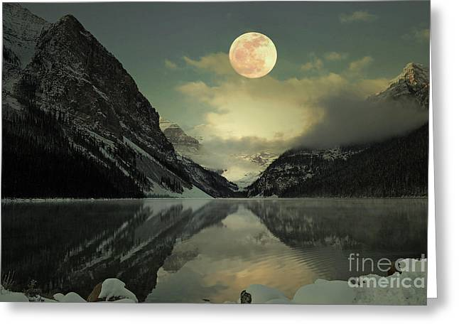 Best Sellers -  - Sunset Posters Greeting Cards - Lake Louise Moon Glow Greeting Card by Andrea Hazel Ihlefeld