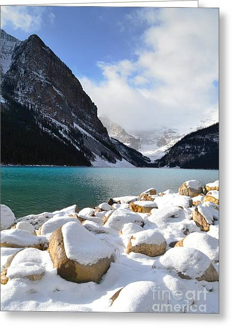 Rocky Mountain National Park Framed Prints Greeting Cards - Lake Louise Mountain Landscape Greeting Card by Andrea Hazel Ihlefeld