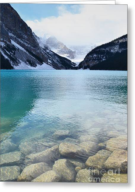 Rocky Mountain National Park Greeting Cards Greeting Cards - Lake Louise Mountain View Greeting Card by Andrea Hazel Ihlefeld