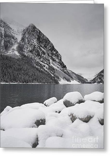 Rocky Mountain National Park Greeting Cards Greeting Cards - Lake Louise Stormy Morning Greeting Card by Andrea Hazel Ihlefeld