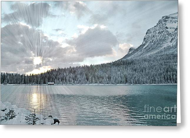 Rocky Mountain National Park Framed Prints Greeting Cards - Lake Louise Sunrise Greeting Card by Andrea Hazel Ihlefeld